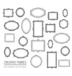 big set of gray rectangular and oval fram vector image