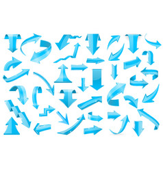 blue 3d arrows set of shiny signs vector image