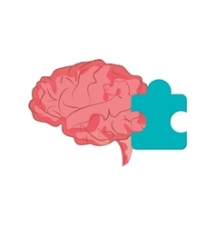 Brain and puzzle piece icon vector