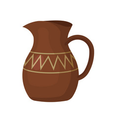 Brown ceramic jug with one handle and geometric vector