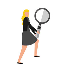 business woman with magnifying glass vector image