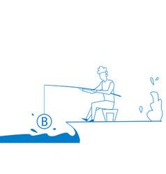 businessman fishing rod money bitcoin mining vector image