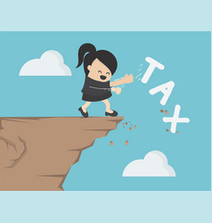 businesswoman is pushing tax message to fall vector image