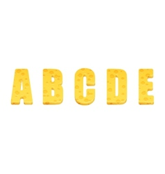 Cheese alphabet set Letters A-E vector