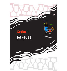 Cocktail menu cover vector