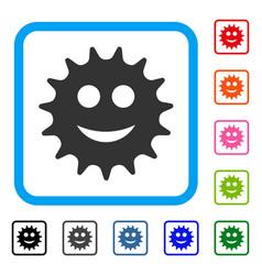 Cog smile framed icon vector