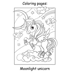 Coloring book page cute unicorn with wings vector
