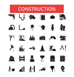 construction thin line icons linear vector image