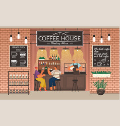 couple drinking coffee counter and barista vector image
