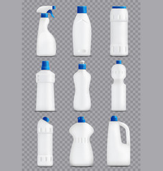 Detergent bottles packaging collection vector