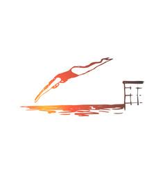 diving water pool jump swim concept vector image