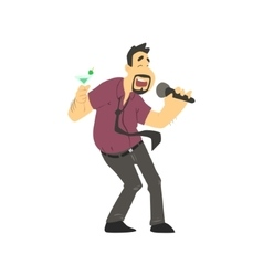 Drunk Man Singing In Karaoke vector image