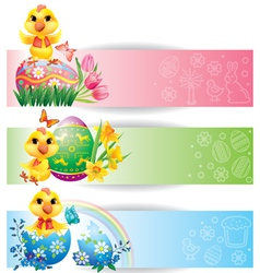 easter colorful horizontal banners with chicken vector image