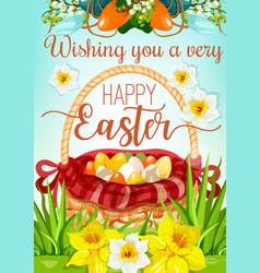 Easter egg hunt basket with flowers poster design vector