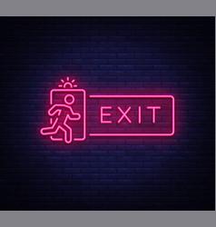 Exit neon signboard neon sign design vector
