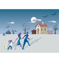 Family and mistery house vector