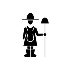 female farmer with shovel black concept vector image