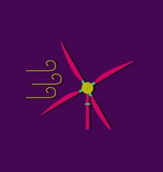 Flat icon design wind turbine in sticker style vector