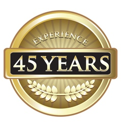 Forty Five Years Experience Gold vector