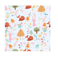 Fox and rabbit in spring flower seamless pattern vector