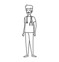 General practitioner with stethoscope character vector