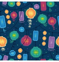 Glowing lanterns seamless pattern background vector