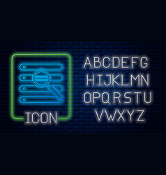 Glowing neon search in a browser window icon vector