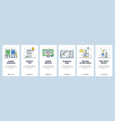 habit tracking website and mobile app onboarding vector image