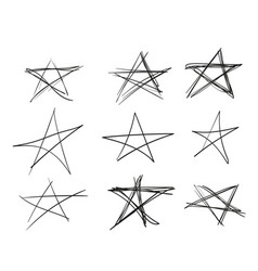 hand-drawn stars with different line thickness vector image