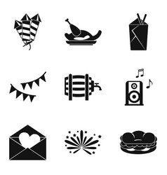 Hangover icons set simple style vector