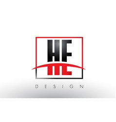 he h e logo letters with red and black colors vector image