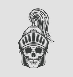 Head skull with knight warrior helmet vector