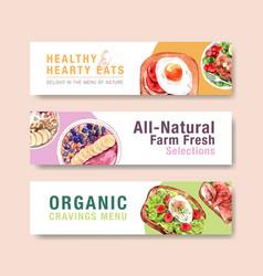 Healthy food banner template design vector
