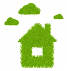 house and clouds vector image