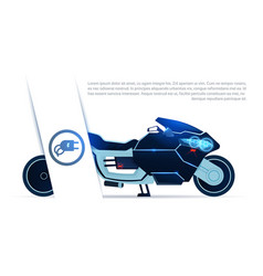 Hybrid motorcycle charging from electricity sport vector