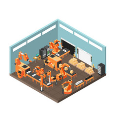 Isometric factory workshop with conveyor line vector
