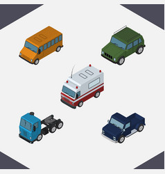 isometric transport set of first-aid suv autobus vector image