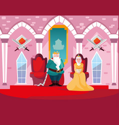 King and queen in castle fairytale vector