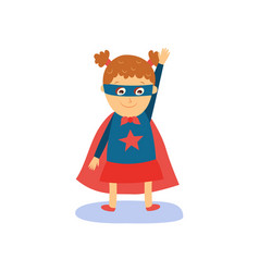 Little girl in superhero costume cape and mask vector