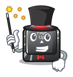Magician button page up keyboard mascot vector