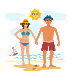 Man and woman couple vacation summer time on the vector