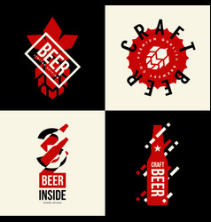 modern craft beer drink isolated logo sign for vector image