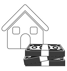 monochrome contour house with many dollars bill vector image