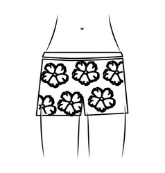 monochrome thin contour of the waist woman in vector image