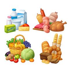 Natural supermarket food sets vector