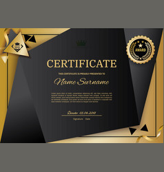 Official black certificate with gold design vector