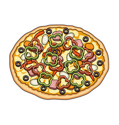 Pizza with meat cheese and other filling vector