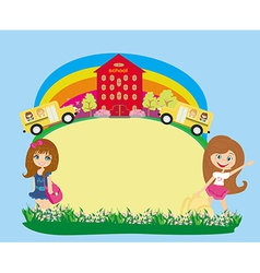 School bus and schoolgirls - Place for your text vector image