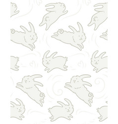 seamless pattern with cute rabbits shapes vector image