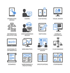 Seo accessibility usability - blue icons set 2 vector